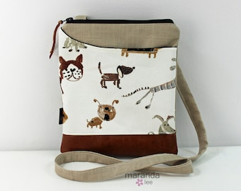 ZOE Messenger Cross Body Sling Bag - Dog Park on Beige Linen and PU Leather READY to SHIp