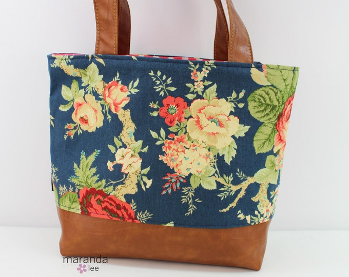 Lulu Large Tote in Navy Flowers READY to SHIP