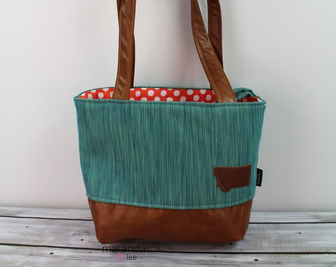 Lulu Medium Tote Bag Teal Denim READy to SHIp