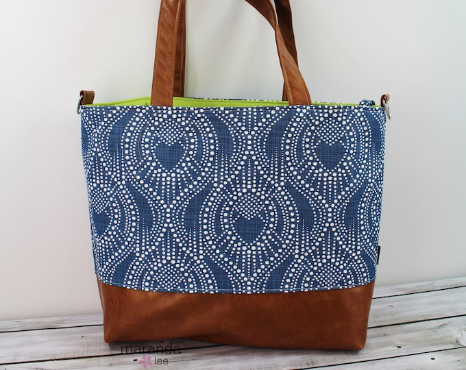 Extra Large Lulu Tote  Cobalt Bubbles  READY to SHIP