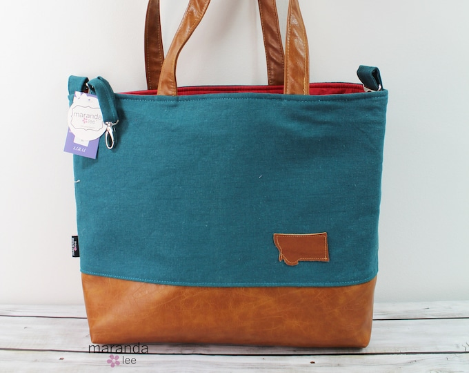 Extra Large Lulu Tote Teal Linen  with Montana Patch READY to SHIP