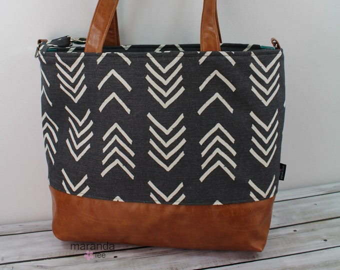 Extra Large Lulu Tote Black On Point READY to SHIP Zipper Closure