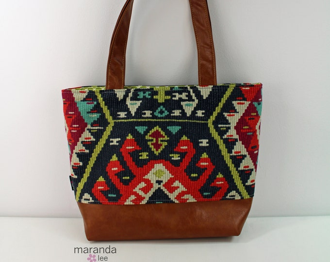 Lulu Large Tote Diaper Bag Fiesta and PU Leather READY to SHIP