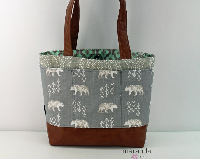 Lulu Large Tote Diaper Bag Bears with Alyssa Tan and PU Leather  - READY to SHIP