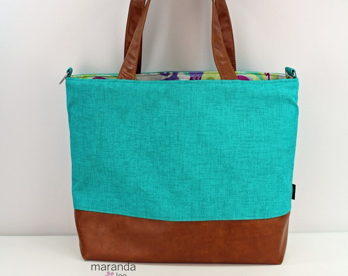 Extra Large Lulu Tote Overnight  Diaper Bag Turquoise Linen and PU Leather - READY to SHIP