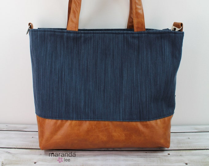Extra Large Lulu Tote Navy Denim READY to SHIP