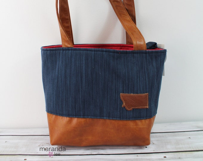Lulu Medium Tote Diaper Bag Navy Denim with Montana Patch -READY to SHIP 6 pockets Nappy Bag Washable