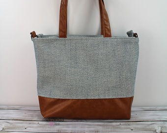 Extra Large Lulu Tote Navy Tweed READY to SHIP