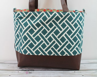 Extra Large Lulu Tote  Weave in Teal  READY to SHIP0