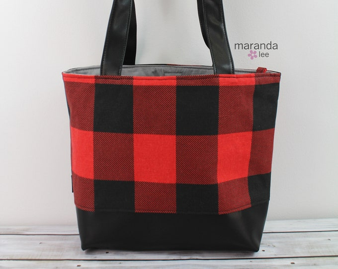 Lulu Large Tote Buffalo Plaid Red -READY to SHIP