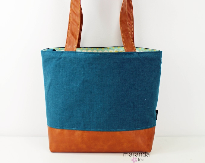 Lulu Large Tote Diaper Bag Deep Teal Linen and PU Leather READY to SHIP