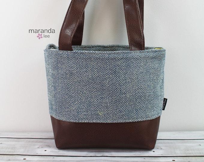 Lulu Medium Tote  Bag Navy Tweed READy to SHIp  Zipper Closure
