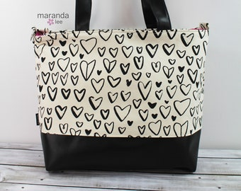 Extra Large Lulu Tote Hearts Black White  READY to SHIP