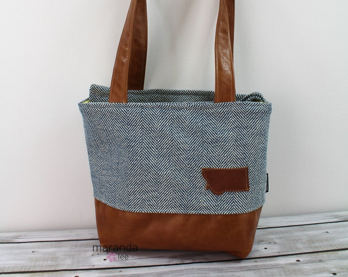 Lulu Medium Tote Bag Navy Tweed READy to SHIp