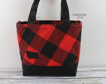 Lulu Large Tote Buffalo Plaid Red with Montana Patch -READY to SHIP Zipper Closure