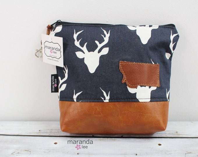 AVA Clutch Medium - Deer with Montana Patch READY to SHIp