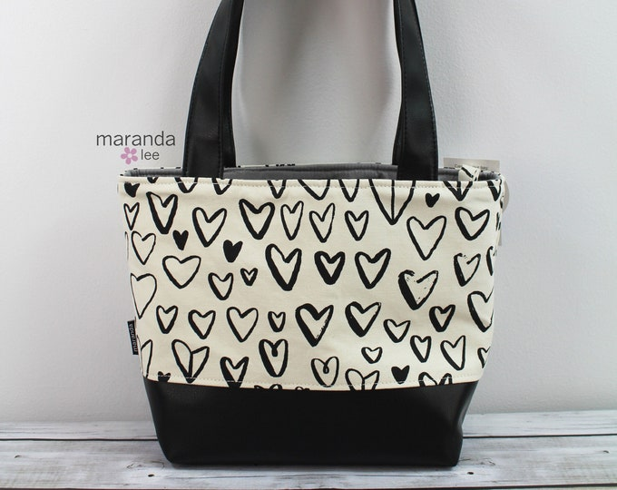 Lulu Medium Black Hearts  READY to SHIP