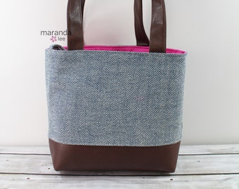 Lulu Large Tote  Navy Tweed READY to SHIP