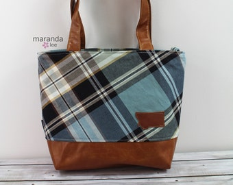Lulu Large Tote Blue Plaid with Montana Patch READY to SHIP Zipper Closure
