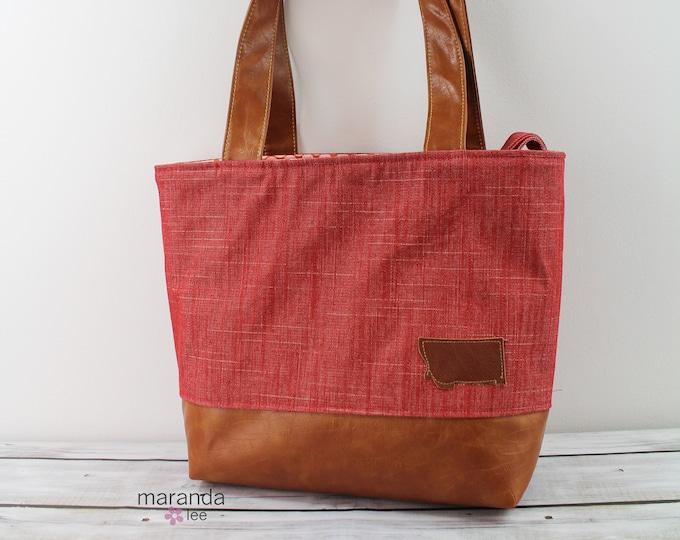 Lulu Large Tote Diaper Bag  Red Denim and PU Leather