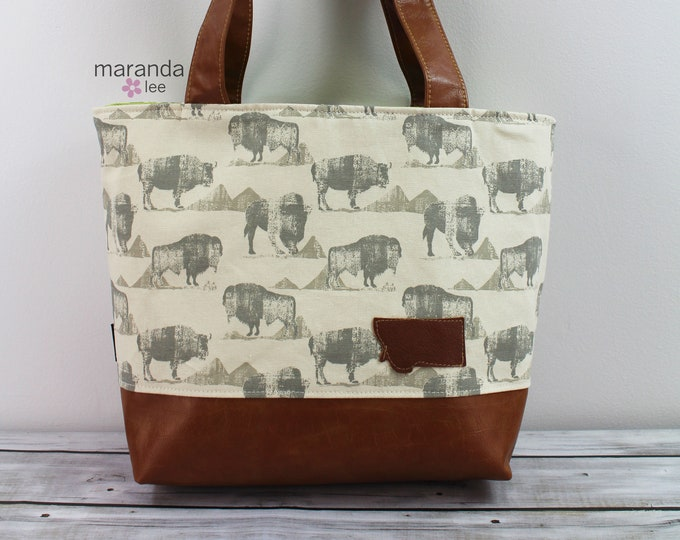 Lulu Large Tote Bison with Montana Patch READY to SHIP