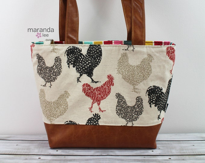 Lulu Large Tote Chickens  READY to SHIP