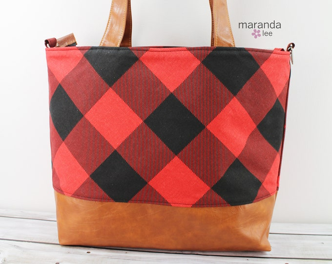 Extra Large Lulu Tote Red Buffalo Plaid with Zipper Closure  - READY to SHIP