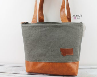 Lulu Large Tote Charcoal Linen with Montana Patch and Zipper Closure READY To SHIP
