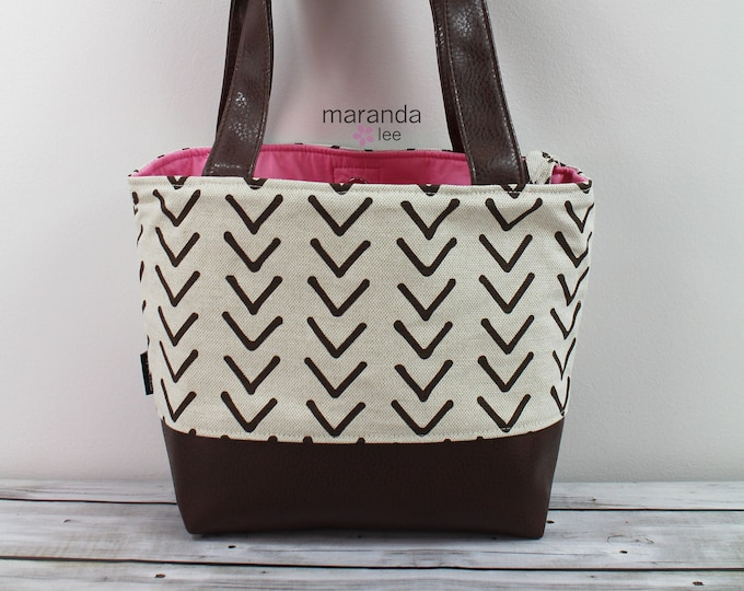 Lulu Medium Tote Brown On Point and PU Leather- READY to SHIP