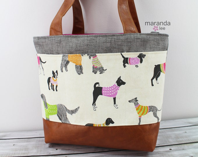 Lulu Large Tote Puppy Love with Gray Denim READY to SHIP