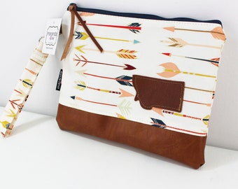 Flat Clutch Large- Tiny Arrow with Mountain Patch and PU Leather READY to SHIp Wristlet Wallet Makeup Travel Clutch