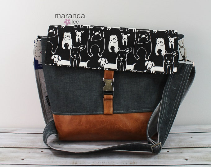 Lulu Large Flap Messenger Satchel Black Puppies READY to SHIP