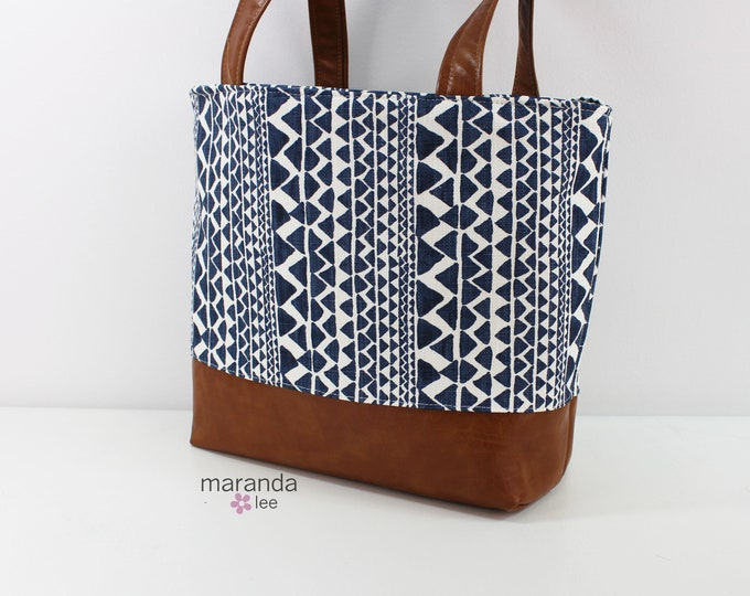 Lulu Large Tote Native Trend Navy READY to SHIP Zipper Closure