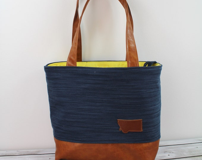 Lulu Large Tote Navy Denim READY to SHIP