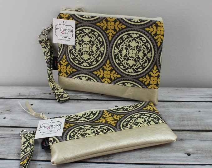 Flat Clutch -Medallion Yellow Gray- READY to SHIP