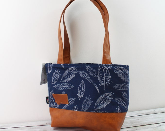 Lulu Medium Tote  Bag Navy Feathers with Montana Patch READY to SHIP - Zipper Closure Purse