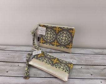 Flat Clutch -Medallion Gray - READY to SHIP Bridesmaid Gift Wallet Cosmetic Bag