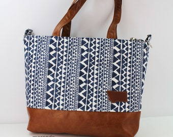 Extra Large Lulu Tote Native Trend Navy READY to SHIP Zipper Closure