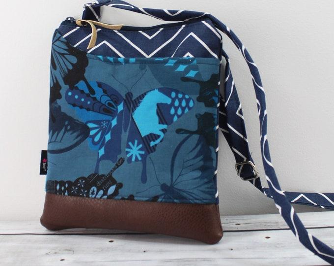 ZOE Messenger Cross Body Sling Bag - Navy Butterflies READY to SHIp