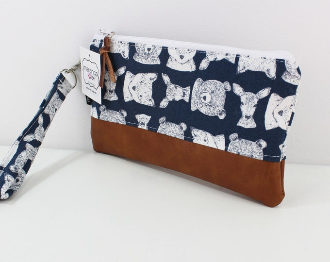 Flat Clutch -Blue Bears READY to SHIP