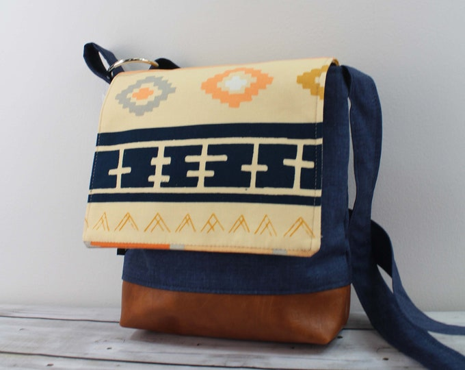 Nori Medium Flap Messenger  - Bound with Navy- READY to SHIP iPad Bag with Adjustable Cross Body Strap