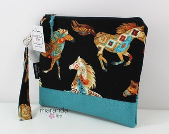 Flat Clutch Large- Native Horses with Teal PU Leather READY to SHIp