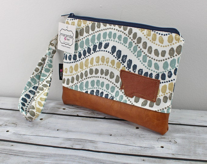 Flat Clutch -Bubbles Blue with  Montana Patch- READY to SHIP