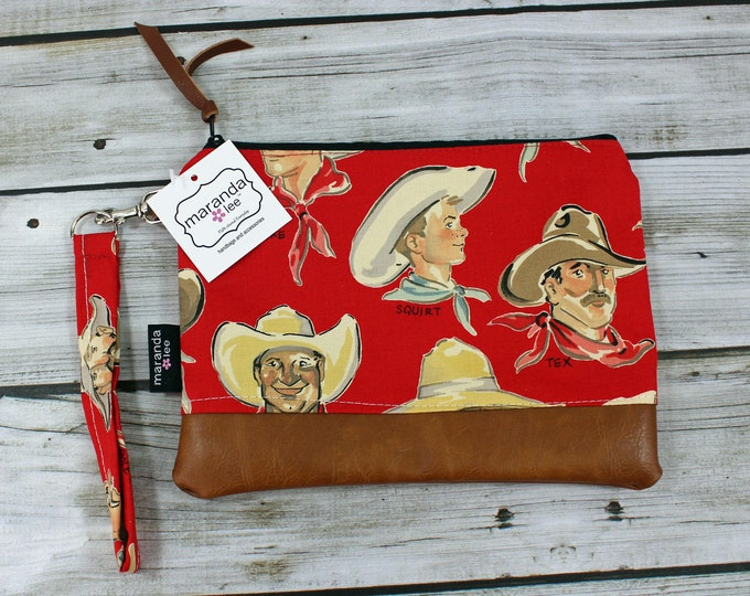 Flat Clutch Large Cowboys Red PU Leather READY to SHIp