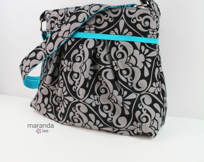 Stella Diaper bag Large - Gray Damask - READY to SHIP