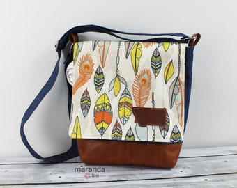 Nori Medium Flap Messenger Slouch Bag with Adjustable Cross Body Bag - Navy Feathers - READY to SHIP iPad Bag