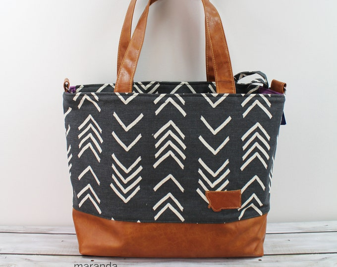 Extra Large Lulu Tote Black On Point with Montana Patch - READY to SHIP Zipper Closure