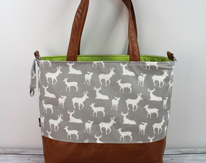 Extra Large Lulu Tote Grey Deer READY to SHIP