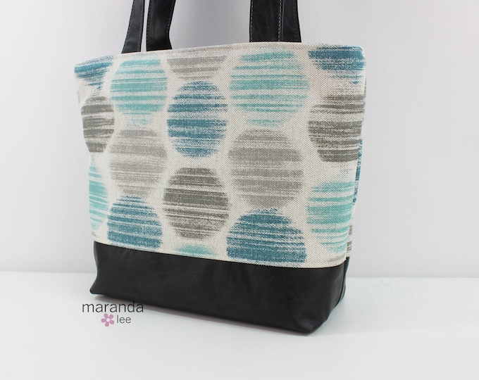Lulu Large Tote in Smoke Dot READY to SHIP- Zipper Closure