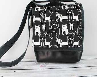Nori Medium Flap Messenger Slouch Bag with Adjustable Cross Body Bag - Black Puppies - READY to SHIP iPad Bag